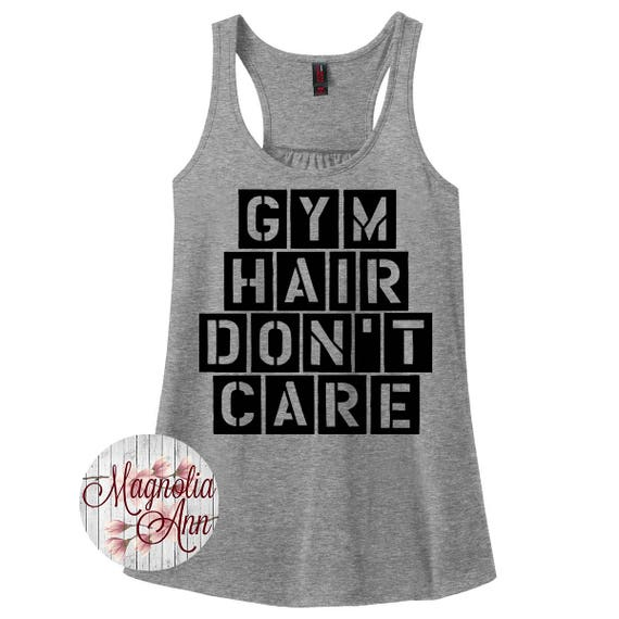 Gym Hair Don't Care, Gym, Workout, Fitness, Women's Racerback Tank Top in 9 Colors in Sizes Small-4X, Plus Size