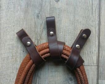fixed Indiana Jones style leather whip / Indiana Jones style leather whip holder