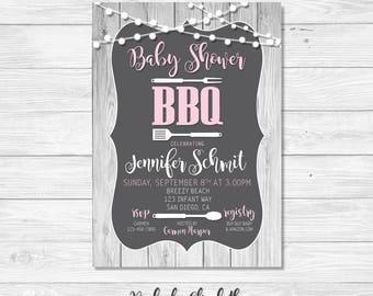 Baby Shower Invitation, BBQ Invitation, Pink Baby Shower Invitation *DIGITAL FILE*