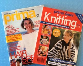 Prima Knitting Magazines - 1988 Vintage Needlecraft Books - Retro Craft Magazines - Crochet Knitting Embroidery Sewing