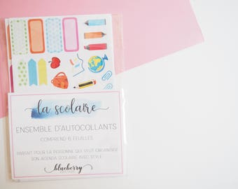 Stickers kit. La scolaire. 6 sheets. French. Planner Planning. sticker Kit. Gift. Letter stickers. stationery. scrapbook. Project life