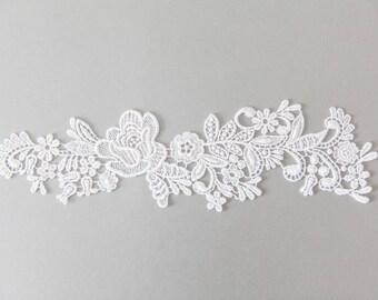 Ivory Guipure Lace Applique, Cotton Lace Applique, Lace Trim, Floral Guipure Lace Trim