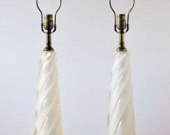 Mid Century Hollywood Regency Murano Seguso twist glass gold dust pair table lamp