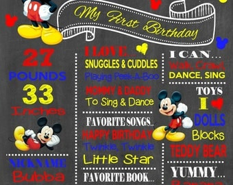 Mickey Mouse Birthday Chalkboard Poster - Disney Wall Art design - Birthday Poster Sign - Any Age