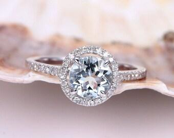 Aquamarine Engagement Ring Aquamarine ring 7mm Round Cut Natural Blue Stone Diamond Wedding Band Diamond Setting 14K White Gold Bridal Ring
