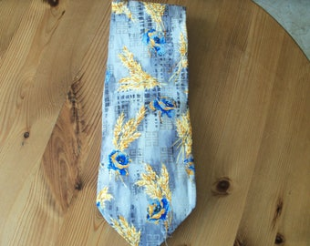 Givenchy Vintage Designer Silk Tie , Subtle Grey Design with Givenchy Logo and Cornflower with Wheat Sprigs