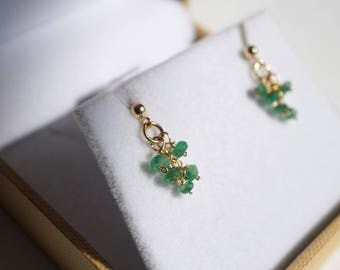 Genuine Emerald Earrings, Emerald Earrings Gold,  Emerald Stud Earrings , Natural emerald stud earrings gold