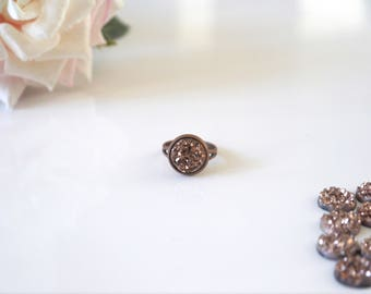 Bronze Druzy Ring |  Adjustable | Antiqued Brass | Rose Gold | Multicoloured | Silver | Grey Druzy