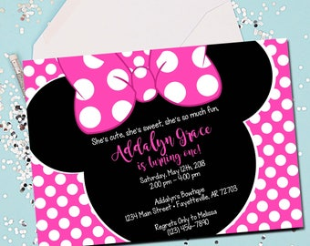 Minnie Mouse Invitation, Pink Minnie Mouse, 1st Birthday Invitation, Minnie Mouse Birthday Invitation, Pink and Black, Printable