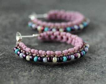 Hoops, hoop earrings, big hoops, big earrings, seed earrings, pink earrings, beaded jewelry, seed jewels, handmade hoops, handmade earrings