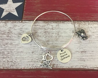 USMC Proud Marine Girlfriend United States Marine Stainless Steel Silver Plated Bangle Charm Bracelet Military Jewelry
