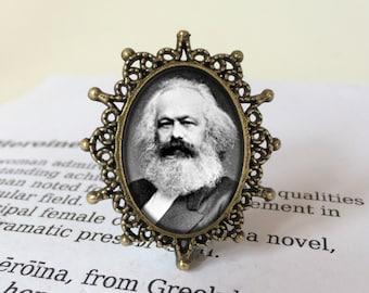 Karl Marx Brooch, Karl Marx Gift, Communist Manifesto Brooch, Marxism Gift, Class Struggle Pin, Marxism Gift, Communism Pin, Revolution Gift