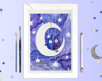 Affiche HONEY MOON - Poster Lutin Enfant Lune Etoile Aquarelle Amour - deco, affiche enfant, Illustration, Art mural, Affiche chambre enfant