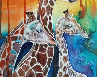 Giraffes under the African sun