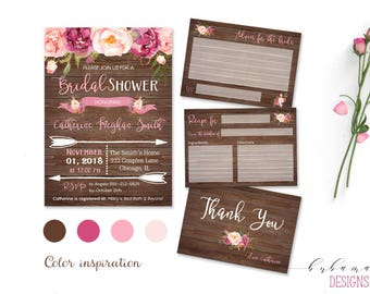 Rustic Bridal Shower Invitation Suite Pink Floral Wood Bridal Invite Set Digital Summer Boho Bridal Invitation Autumn Romantic - BS028