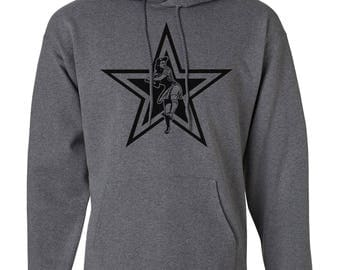 Charcoal Heather Hanes Heavyweight Pullover Hoodie With Front Print Vintage Star
