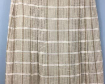 Fantastic Vintage beige check mesh pleated skirt UK 12/14 tartan plaid