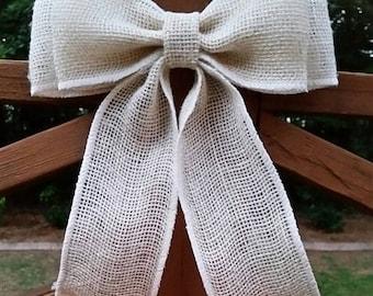 Ivory Burlap Bow Wedding Bow Burlap Wedding Rustic Wedding  Wreath Bow Aisle Decoration Burlap Bow
