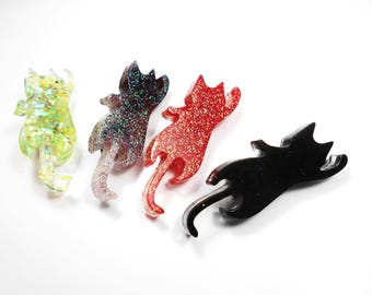 SALE 50% pin kawaii kitty cat resin glitter