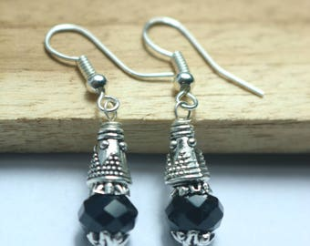 925 Sterling Silver Handmade Earrings Sterling Silver With Natural Black Spinal Gemstone