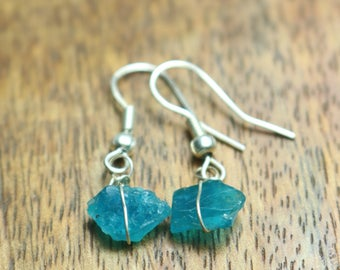 925 Sterling Silver Handmade Earrings Sterling Silver With Natural Apatite Gemstone