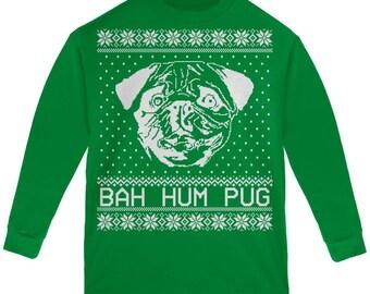 Christmas Bah Hum Pug Green Youth Long Sleeve T-Shirt
