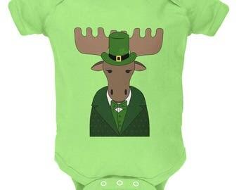St. Patrick's Day Irish Leprechaun Moose Soft Baby One Piece