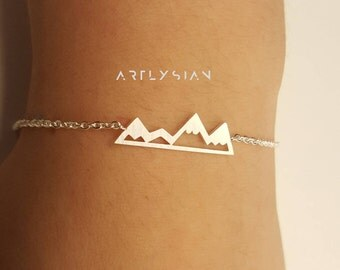 Mountains bracelet, adventure bracelet, hiking bracelet, mountain charm, silver mountain-mountain jewelry-triangle bracelet-mountain pendant