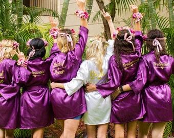 Bridesmaid Robes Set of 6, Satin Bridesmaid Robes, Bridal Party Robes, Personalized Bridesmaid Robes, Bridesmaid Gifts, Monogrammed Robes