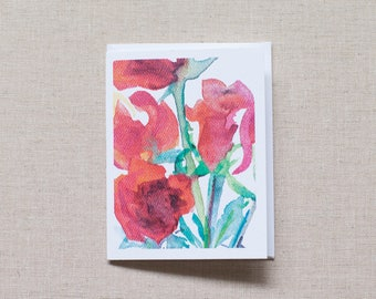 Celebration // 6 Blank Greeting Cards //RBrashears // Red Rose Card // Watercolor Rose Print // Christmas Card // Get Well Card // Valentine