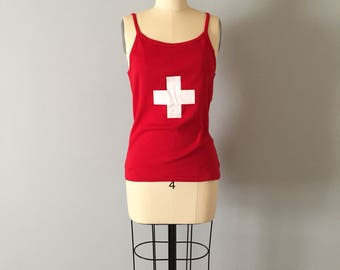 Swiss cross tank top    fire engine red cotton tank top with white cross