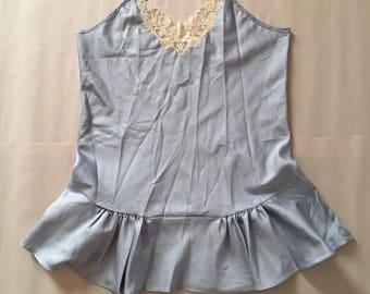 ICE BLUE ruffled slip dress | floral lace mini slip dress | tiered skirtes baby doll slip dress