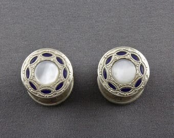 Vintage Art Deco Mother Of Pearl And Blue Celluloid Snap Cufflinks