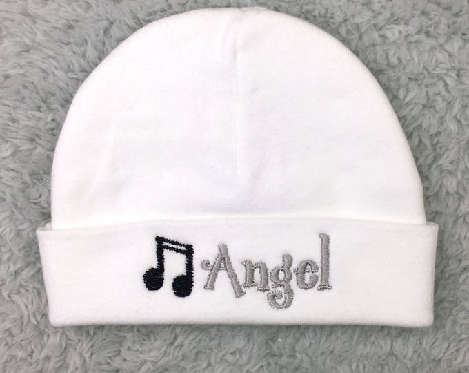 Personalized baby hat with musical notes - preemie hat newborn hat micro preemie hat NICU clothes baby gift, newborn pictures, take home hat