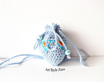Crochet Medicine Small Pouch Necklace, Medicine Bag, Boho style, Medicine Blue Crystal Holder, Jewelry pouch, Neck Pouch