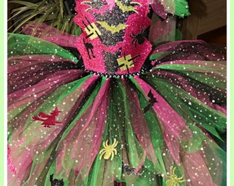 Handmade Girls Pink and Green Halloween Witch Tutu Dress