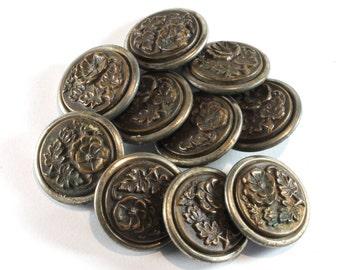 Vintage 10 Metal Buttons, Buttons, Antique Buttons, Vintage Metal Buttons, Rose, Collectible, Very valuable, Natural patina