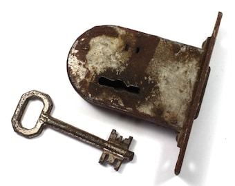 Vintage Lock With Key, Surface Mount Barrel Lock, Antique Lock, Industrial,Antique Door Hardware, Lock With Key, Lock,Vintage Door, Hardware