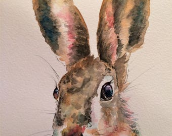"Hare 12"" x 10"" Original watercolour painting"