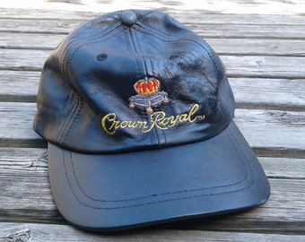 Vintage 80's / 90's Leather Crown Royal Strapback Cap hat grunge style