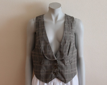 Women's Vest Brown Vest Plaid Women Vest Checkered Vest Womens Formal Waistcoat Steampunk Fitted Edwardian Victorian Extra Large Size