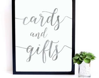 Silver Foil Cards and Gifts Wedding Sign | Printable Cards and Gifts| Wedding Ceremony Reception Sign | Calligraphy Print| Suite | WSil1