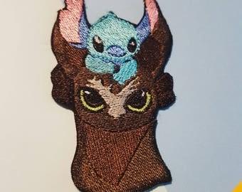 "Dreamworks Disney Stitch Toothless Best Friends 3.5"" Iron On Patch"