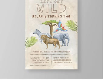 Wild Safari Birthday Invitation Template, Printable Jungle Zoo Animal, Boy Birthday Party, Instant Download, 100% Editable, Templett #023BBD