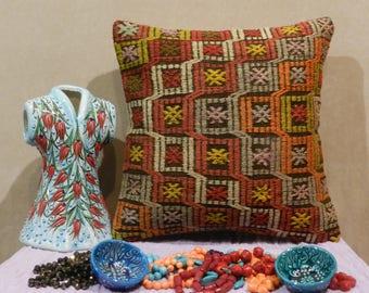 kilim pillow, turkish pillow,handmade pillow,decorative pillows,cushion covers,16x16inch,40x40cm