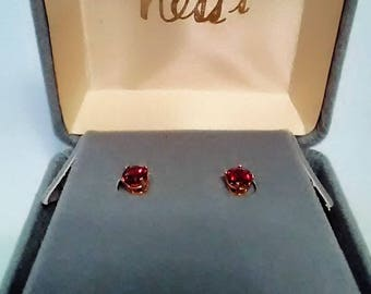 Garnet Earrings, Garnet Post Earrings, Garnet Stone, January Birthstone,  5 mm Stone, Classic, Goldtone Jewelry, Gift for Women, Understated