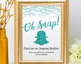 Printable Aqua Teal Glitter Look Social Media String Lights Geofilter Wedding Event Hashtag Sign, 2 Sizes, Editable PDF Instant Download