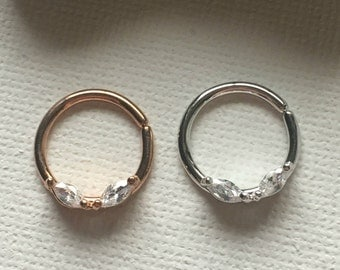 Bendable Septum Ring, Crystal Septum Ring, Septum Ring, Surgical Steel Septum, Rose Gold Septum Ring, Silver Septum Ring, Septum 16g