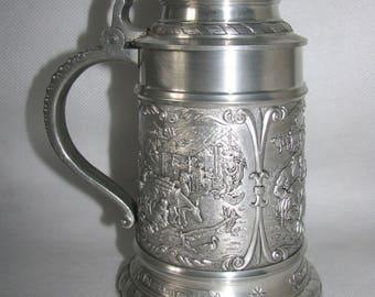 German MUG beer PEWTER mug tin decor pitcher big mugful stein beer country scenes village wine XL size