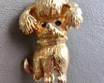 Vintage Bichon Frise Dog Brooch Pin Goldtone